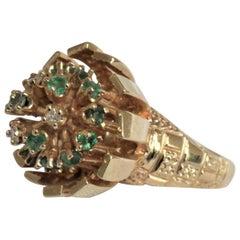 Large Ladies 14-Karat Yellow Gold Cocktail Ring with Diamonds, Emeralds & Beryls