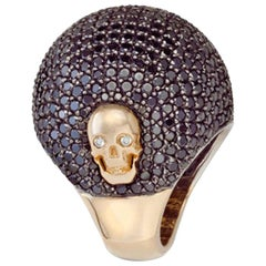Large Lady Jane Dome Ring with Black and Skulls with White Diamond Eyes