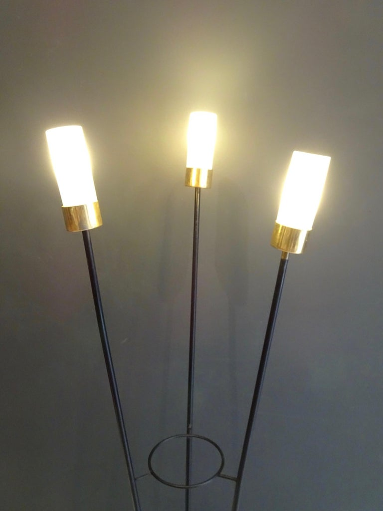 Late 20th Century Large Lamp with Three Italian Work Heads For Sale