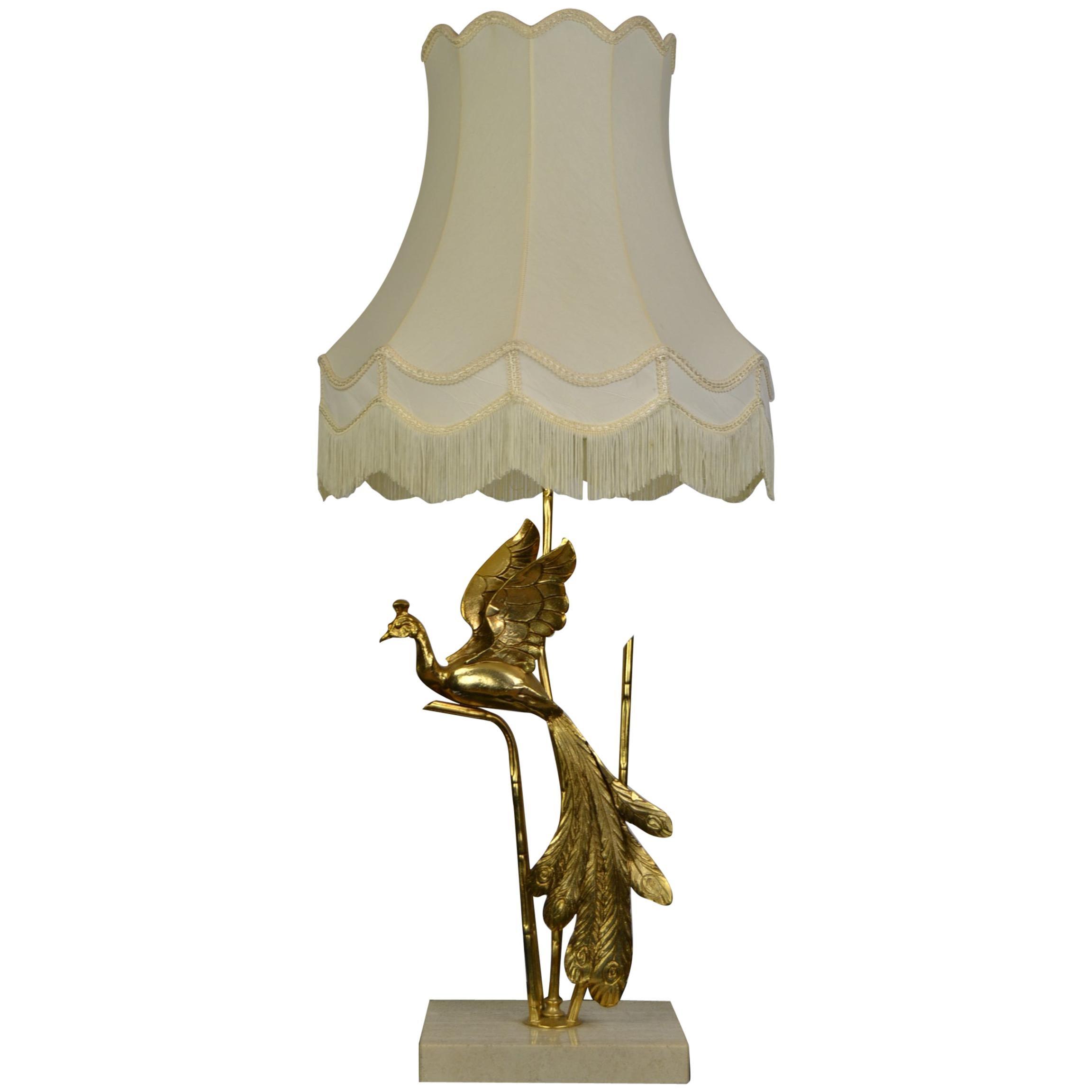 Large Lanciotto Galeotti Peacock Table Lamp for L'Originale, Italy, 1970s