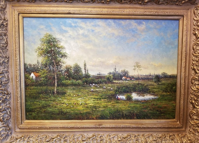 Presenting a gorgeous 20th century original large oil on canvas by Jack Lanze.  This is a beautiful Expressionist landscape painting in the style of the Dutch or French School. The pastoral scene or landscape is very Dutch or Belgian looking (very