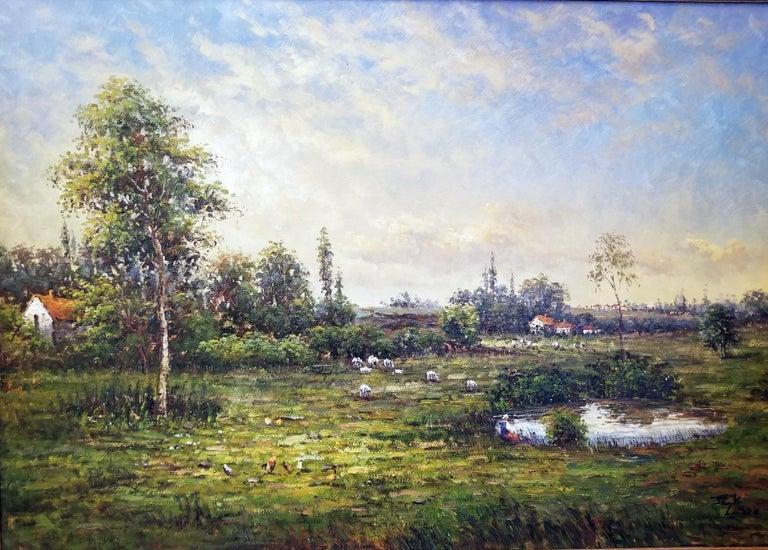 Expressionist Large Landscape Oil on Canvas Dutch School by Jack Lanze For Sale