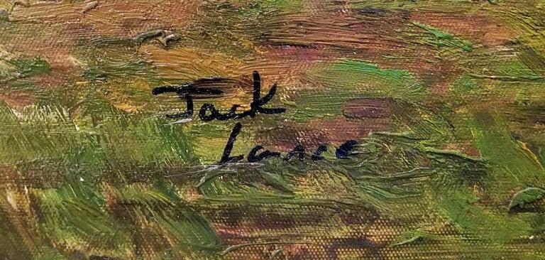 Hand-Painted Large Landscape Oil on Canvas Dutch School by Jack Lanze For Sale