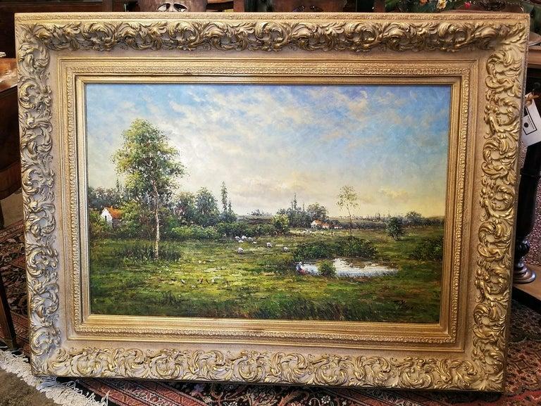 Large Landscape Oil on Canvas Dutch School by Jack Lanze For Sale 1