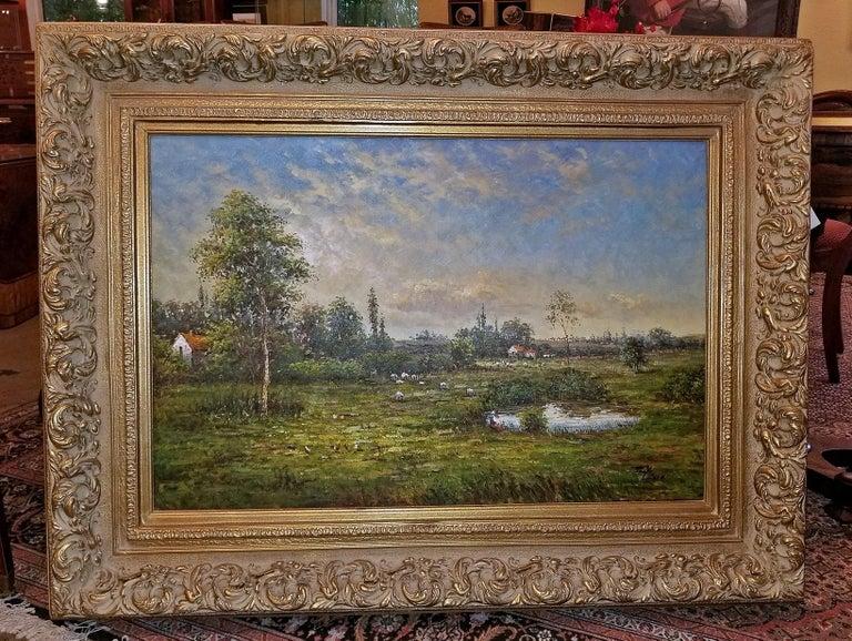 Large Landscape Oil on Canvas Dutch School by Jack Lanze For Sale 2