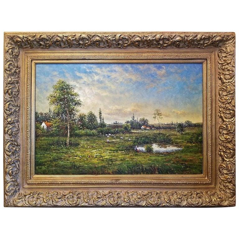 Large Landscape Oil on Canvas Dutch School by Jack Lanze For Sale