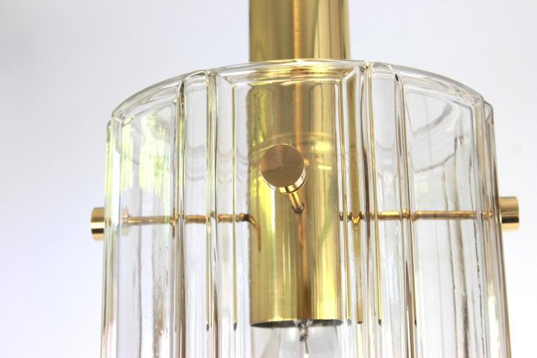 Large Lantern Form Pendant Cylindrical Glass Shade by Limburg, Germany, 1960s In Good Condition For Sale In Aachen, DE