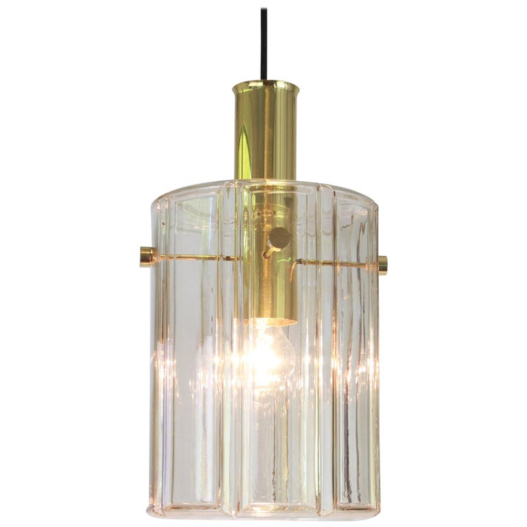 Large Lantern Form Pendant Cylindrical Glass Shade by Limburg, Germany, 1960s For Sale