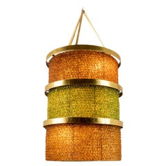 Large Lantern in Steel and Yellow and Green Glass, 1950s