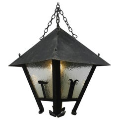 Large Lantern Outdoor Light French Arts & Crafts Iron Glass Exterior Porch