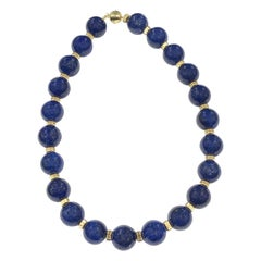 Large Lapis Lazuli and Gold Necklace