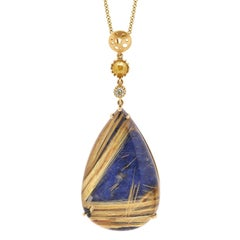 Large Lapis-Rutilated Quartz-Doublet Coin Pendant