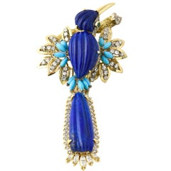 Large Lapis Turquoise Diamond and Gold Bird Brooch