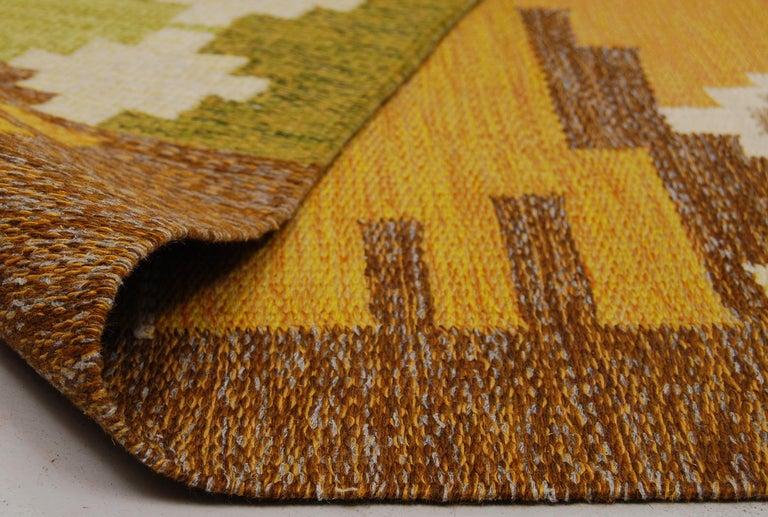 Scandinavian Modern Large Swedish Flat-Weave Rölakan Carpet by Ingegerd Silow, 1960s For Sale