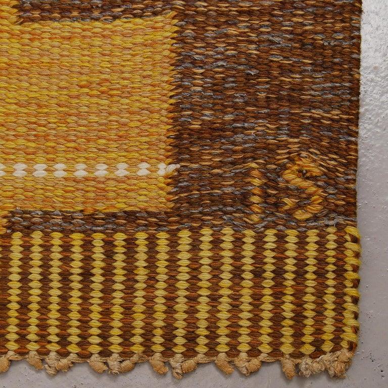 Hand-Woven Large Swedish Flat-Weave Rölakan Carpet by Ingegerd Silow, 1960s For Sale