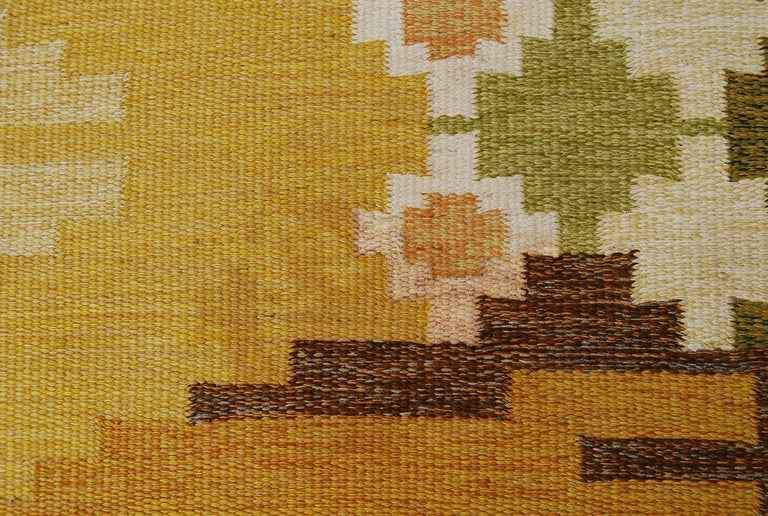 Large Swedish Flat-Weave Rölakan Carpet by Ingegerd Silow, 1960s In Good Condition For Sale In Stockholm, SE