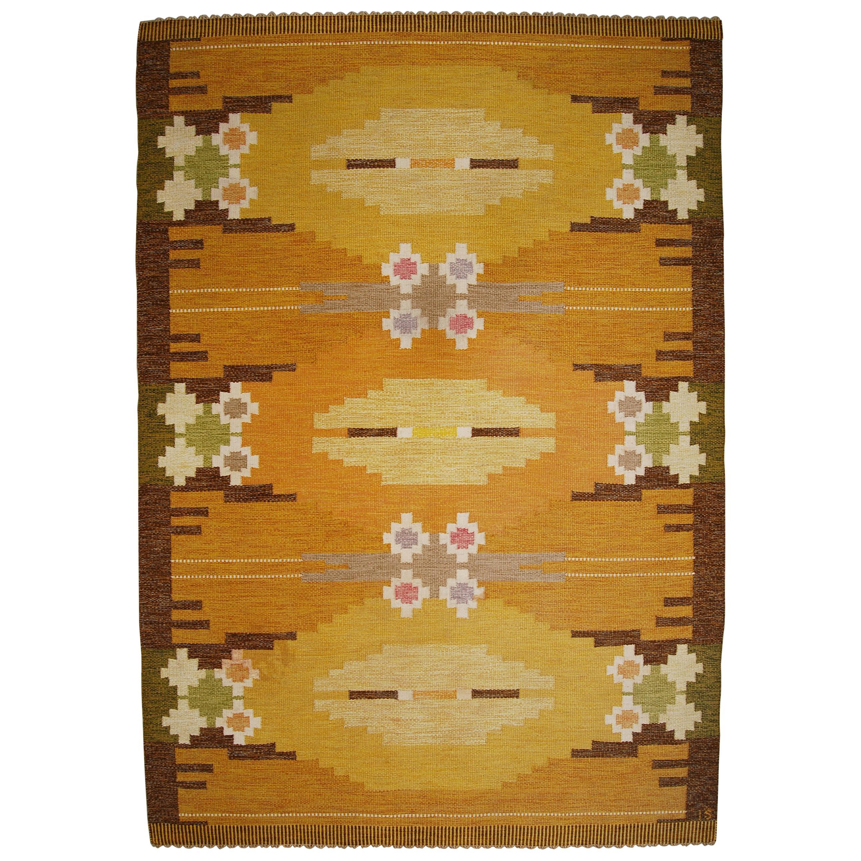 Large Swedish Flat-Weave Rölakan Carpet by Ingegerd Silow, 1960s