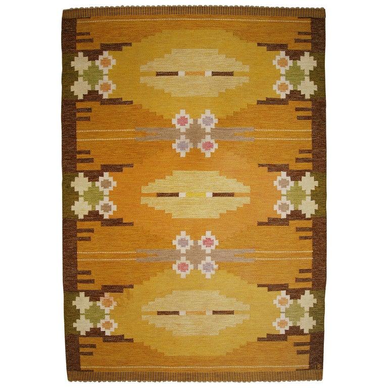 Large Swedish Flat-Weave Rölakan Carpet by Ingegerd Silow, 1960s For Sale