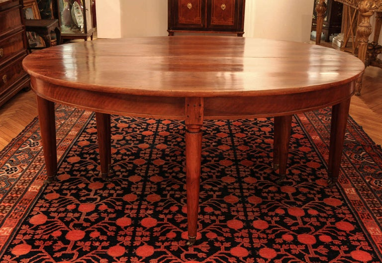 Louis XVI Large Late 18th Century, French Oval Extending Walnut Dining Table For Sale