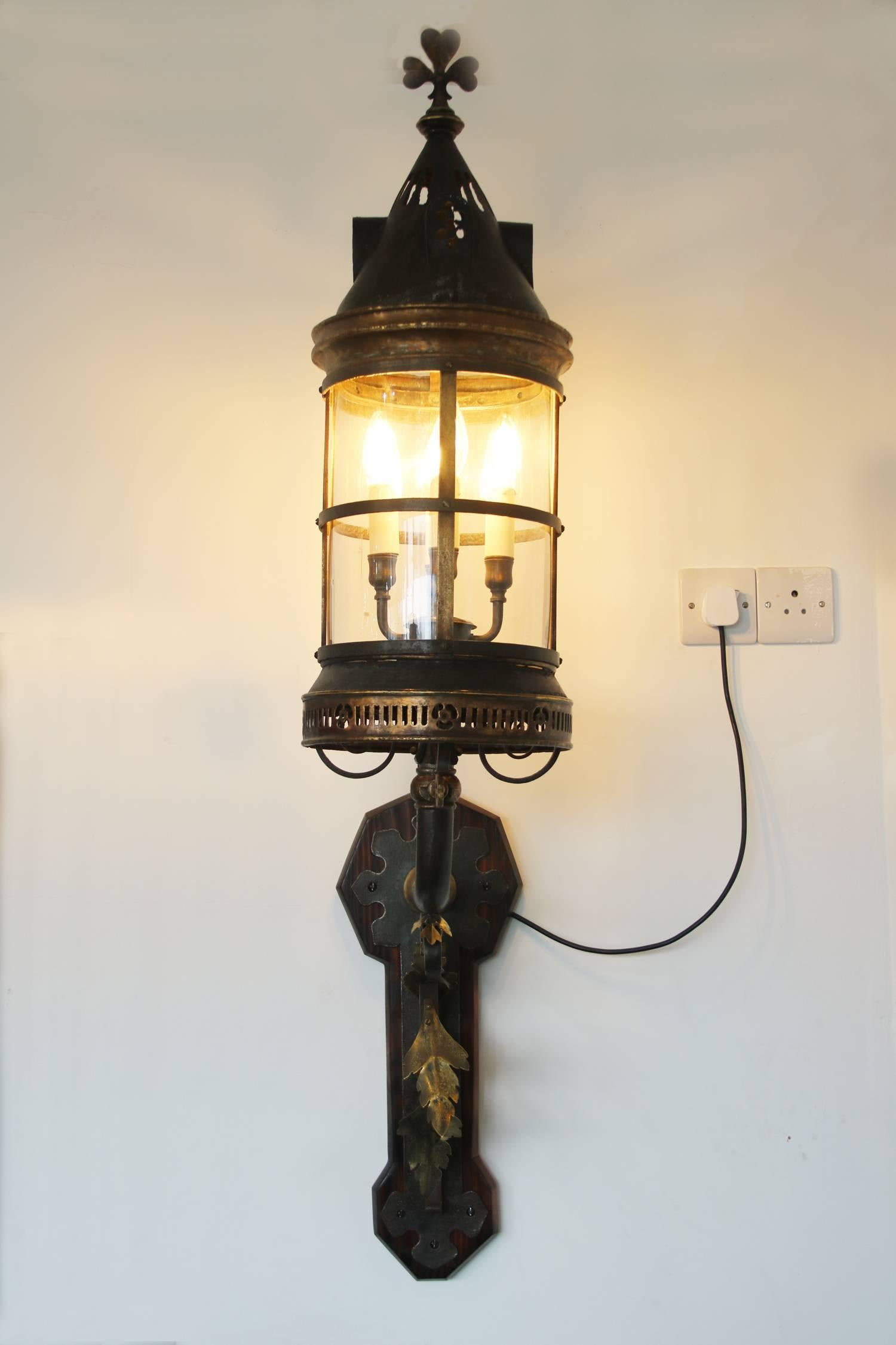 Large Late 19th Century Arts and Crafts Wall Lantern For Sale at 1stdibs