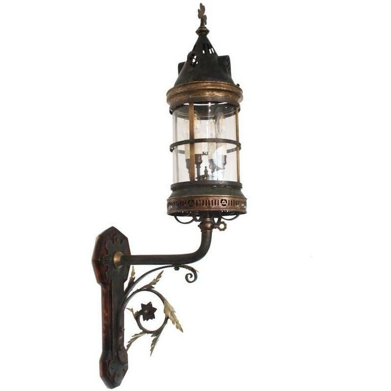 Large Late 19th Century Arts & Crafts Wall Lantern