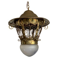 Large Late 19th Century Brass and Glass Arts & Crafts Pendant / Light Fixture