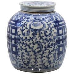 """Large Late 19th Century Chinese Blue """"Cobalto"""" and White Ginger Jar"""