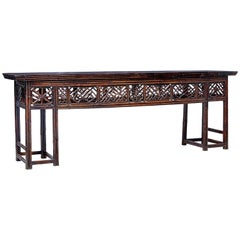 Large Late 19th Century Chinese Cane and Lacquer Consol Table