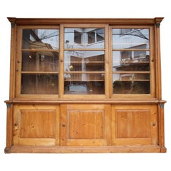 Large Late 19th Century English Pine Shop Display Cabinet with Sliding Doors