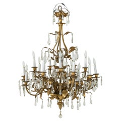 Large Late 19th Century French Art Nouveau Period Bronze and Crystal Chandelier