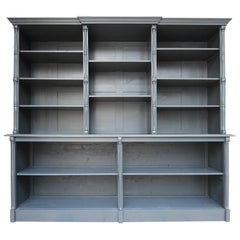 Large Late 19th Century French Bookcase or Shop Cabinet, New Painted Anthracite