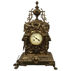 Large Late 19th Century French Brass Mantle Clock