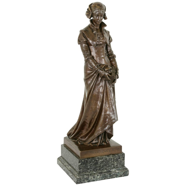 """Large Late 19th Century French Bronze Statue """"Marguerite"""" Signed Eugene Aizelin For Sale"""
