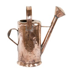 Large Late 19th Century French Hand-Hammered Copper Watering Can