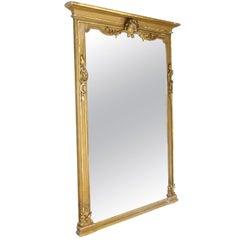 Large Late 19th Century Italian Gilt Wood Decorative Mirror