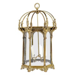 Large Late 19th Century Octagonal Bronze Classical Lantern
