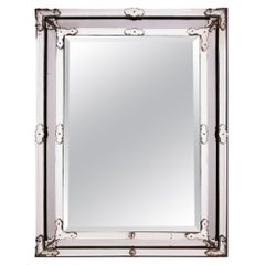 Large Late 19th Century Venetian Rectangular Mirror with Glass Borders