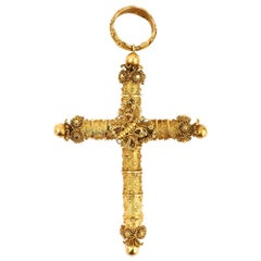 Large Late Georgian Cannetille Butterfly Cross 18k 18ct Yellow Gold, circa 1830