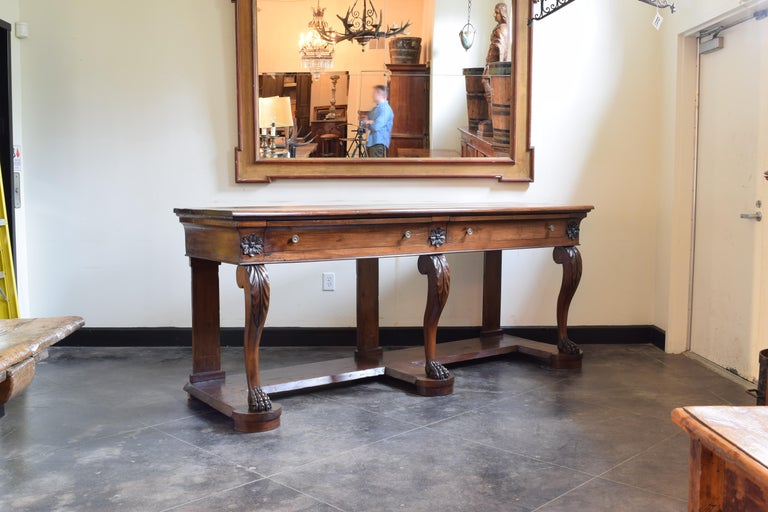 Italian Large Late Neoclassical Carved Walnut Console Table, Italy, Mid-19th Century For Sale