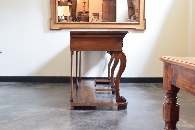 Large Late Neoclassical Carved Walnut Console Table, Italy, Mid-19th Century In Good Condition For Sale In Atlanta, GA