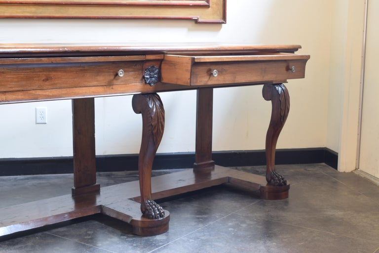 Large Late Neoclassical Carved Walnut Console Table, Italy, Mid-19th Century For Sale 1