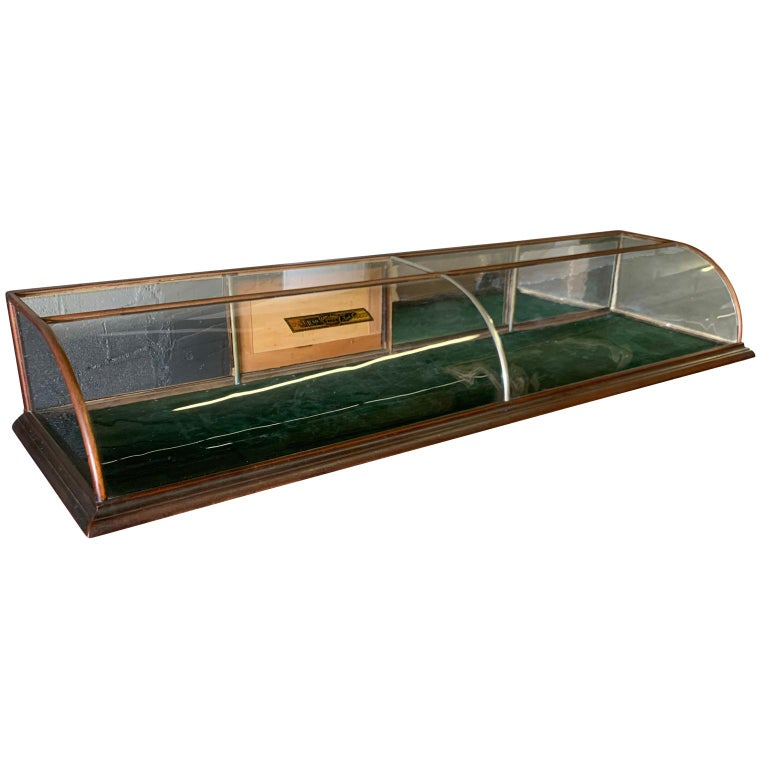 Large late Victorian shop display case, museum, collector's cabinet. Please note that one of the sliding doors is missing.