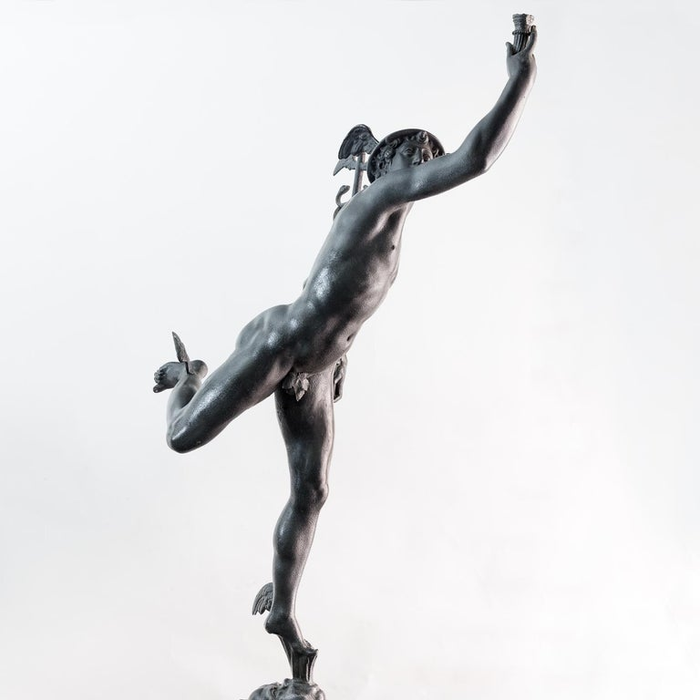 Large Late Victorian Spelter Figure of Mercury For Sale 11