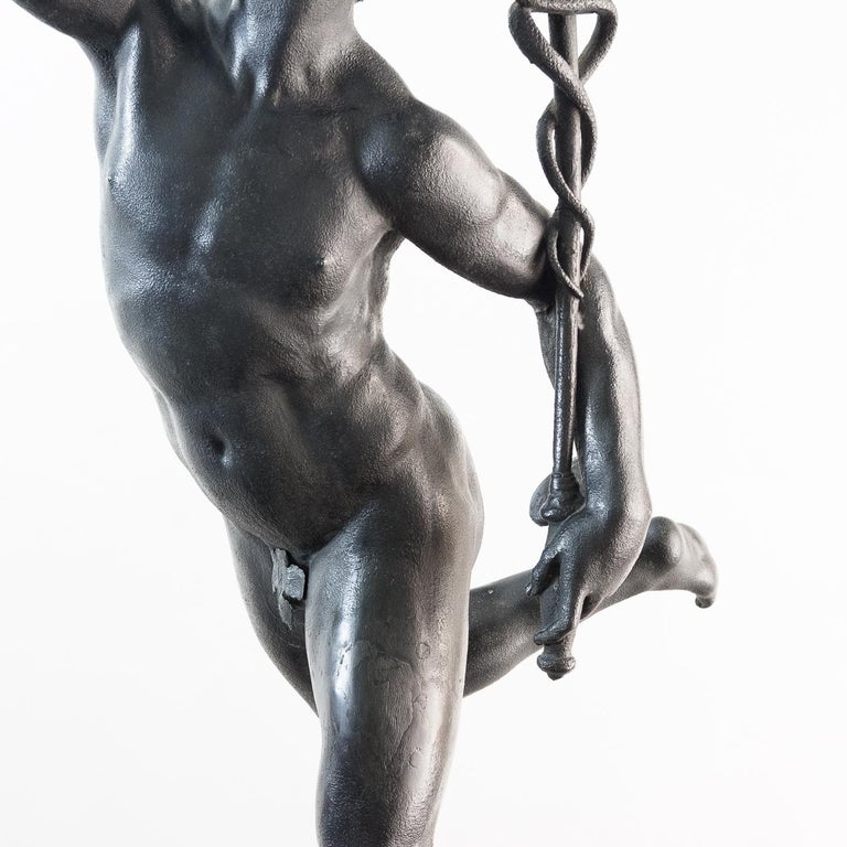 Large Late Victorian Spelter Figure of Mercury For Sale 14