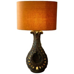 Large Lava Ceramic Table Lamp from 1960 with Illuminated Base