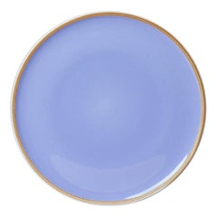 Large Lavender Glazed Porcelain Hermit Plate with Rustic Rim