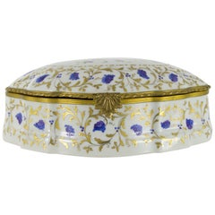 Large Le Tallec Paris Porcelain Hand Painted Trinket or Jewelry Box, 1973
