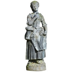 Large Lead Figure Depicting a Flower Girl