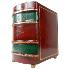 Large Leather Bound Ledger Book Motif Magazine Holder from Italy, 1950s