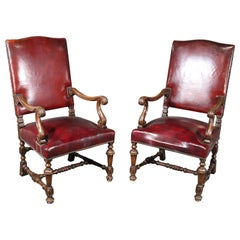 Large Leather Carved Walnut Throne Office Chairs with Commemoritive Plaques